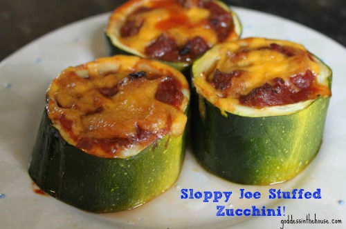 sloppy joe stuffed zucchini