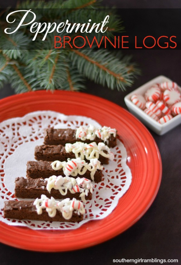 Peppermint-Brownie-Logs
