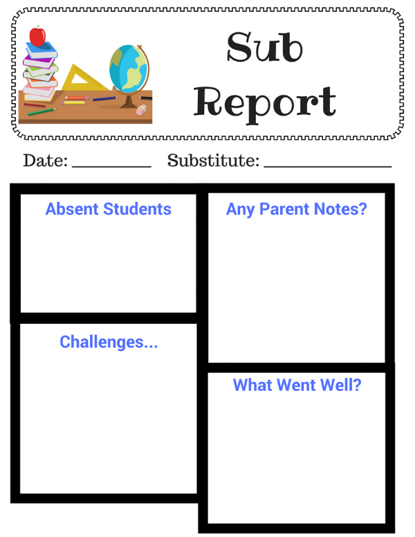 Substitute Teacher Printable | Diaries of a Domestic Goddess