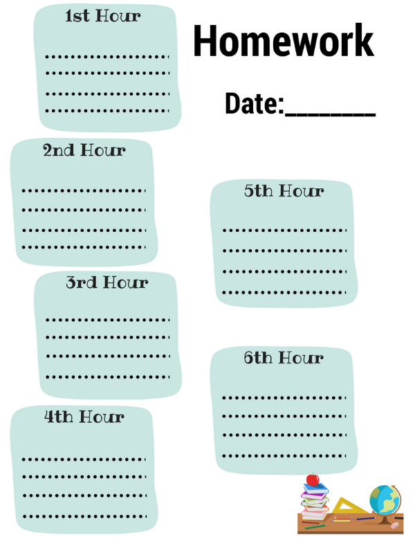 Homework Daily Planner Printable | Diaries of a Domestic Goddess