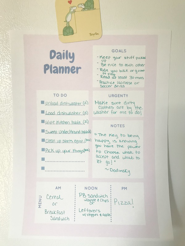 summer daily planner