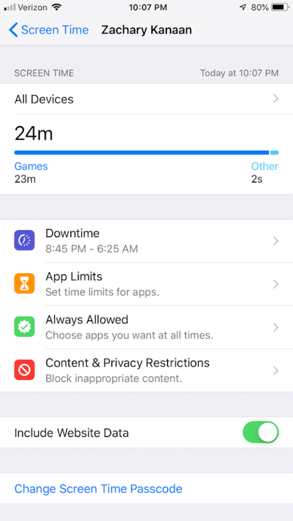 apple screen time error